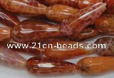 CAG591 15.5 inches 10*25mm faceted teardrop natural fire agate beads
