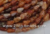 CAG592 15.5 inches 6*10mm teardrop natural fire agate beads