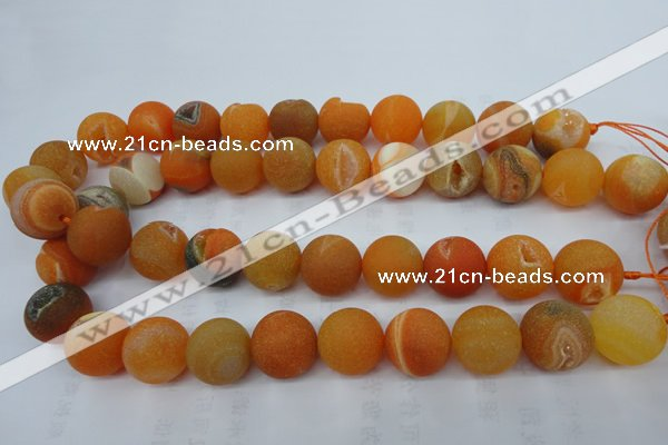 CAG5937 15 inches 16mm round matte druzy agate beads wholesale