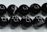 CAG5946 15.5 inches 12mm round black line agate beads wholesale