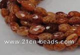 CAG598 15.5 inches 8*12mm faceted rice natural fire agate beads