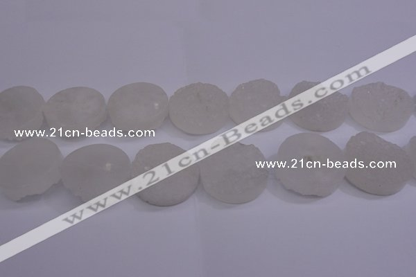 CAG5983 15.5 inches 30mm coin white agate gemstone beads