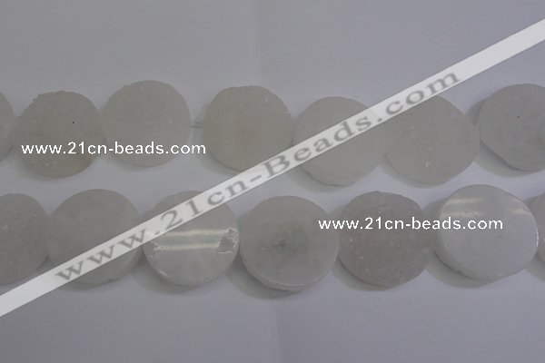 CAG5984 15.5 inches 35mm coin white agate gemstone beads