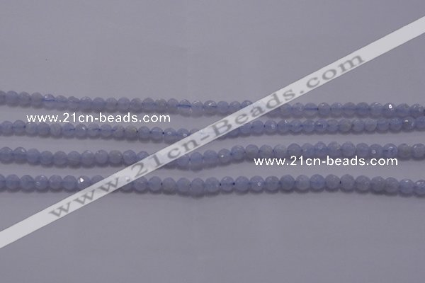 CAG5995 15.5 inches 4mm faceted round blue lace agate beads
