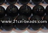 CAG6002 15.5 inches 8mm carved round matte black agate beads