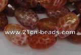 CAG602 15.5 inches 15*20mm faceted rice natural fire agate beads