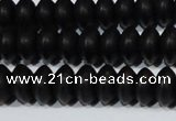 CAG6021 15.5 inches 4*8mm rondelle matte black agate beads