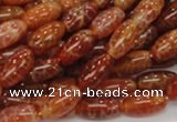 CAG605 15.5 inches 8*14mm rice natural fire agate beads wholesale