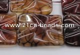 CAG6085 15.5 inches 20*20mm wavy square dragon veins agate beads