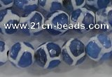 CAG6122 15 inches 12mm faceted round tibetan agate gemstone beads