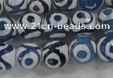 CAG6125 15 inches 8mm faceted round tibetan agate gemstone beads