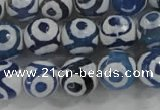 CAG6127 15 inches 12mm faceted round tibetan agate gemstone beads