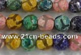 CAG6141 15 inches 10mm faceted round tibetan agate gemstone beads