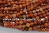 CAG618 15.5 inches 4mm faceted round natural fire agate beads