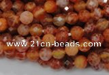CAG620 15.5 inches 8mm faceted round natural fire agate beads