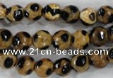 CAG6206 15 inches 10mm faceted round tibetan agate gemstone beads