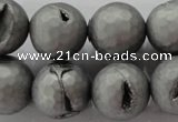 CAG6236 15 inches 16mm faceted round plated druzy agate beads