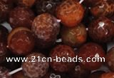 CAG625 15.5 inches 18mm faceted round natural fire agate beads
