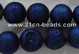 CAG6254 15 inches 12mm faceted round plated druzy agate beads