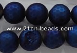 CAG6257 15 inches 18mm faceted round plated druzy agate beadsCAG6257 15 inc