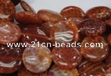 CAG631 15.5 inches 14mm coin natural fire agate beads wholesale