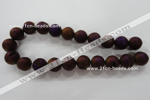 CAG6318 15 inches 20mm faceted round plated druzy agate beads