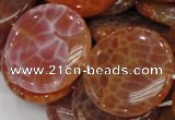 CAG634 15.5 inches 40mm coin natural fire agate beads wholesale