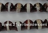 CAG6364 15 inches 12mm faceted round tibetan agate gemstone beads