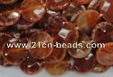 CAG637 15.5 inches 12mm faceted coin natural fire agate beads