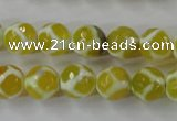CAG6371 15 inches 10mm faceted round tibetan agate gemstone beads