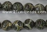 CAG6383 15 inches 10mm faceted round tibetan agate gemstone beads