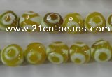 CAG6387 15 inches 8mm faceted round tibetan agate gemstone beads