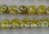 CAG6388 15 inches 10mm faceted round tibetan agate gemstone beads