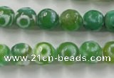 CAG6392 15 inches 10mm faceted round tibetan agate gemstone beads