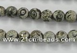CAG6415 15 inches 10mm faceted round tibetan agate gemstone beads