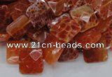 CAG649 15.5 inches 10*10mm faceted square natural fire agate beads