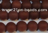 CAG6554 15.5 inches 8mm round matte red agate beads wholesale