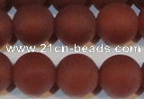 CAG6557 15.5 inches 14mm round matte red agate beads wholesale