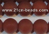 CAG6558 15.5 inches 16mm round matte red agate beads wholesale