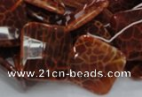 CAG656 15.5 inches 18*18mm faceted rhombic natural fire agate beads