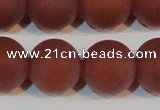 CAG6560 15.5 inches 20mm round matte red agate beads wholesale
