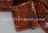 CAG658 15.5 inches 30*30mm faceted rhombic natural fire agate beads