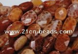CAG661 15.5 inches 10*14mm faceted rectangle natural fire agate beads