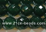 CAG6616 15.5 inches 14mm faceted round green agate gemstone beads