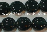 CAG6632 15.5 inches 13mm flat round green agate gemstone beads