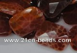 CAG664 15.5 inches 18*25mm faceted rectangle natural fire agate beads