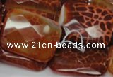 CAG665 15.5 inches 22*30mm faceted rectangle natural fire agate beads