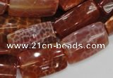 CAG667 15.5 inches 15*30mm rectangle natural fire agate beads