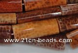 CAG668 15.5 inches 15*35mm rectangle natural fire agate beads