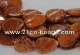 CAG673 15.5 inch 13*18mm faceted teardrop twisted natural fire agate beads